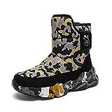 SFHK Botas de Nieve para niños Zapatos de Invierno para niños Grandes con Tacos de Hielo Impermeable Antideslizante Anticolisión Forrado de Piel cálido para Esquiar al Aire Libre-Black||31