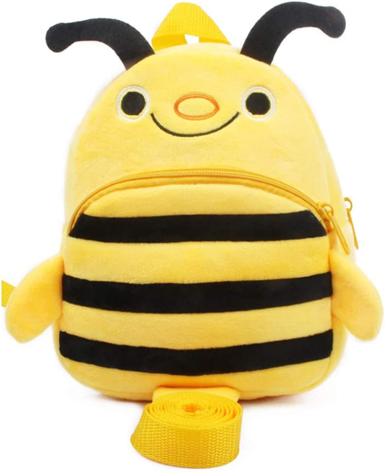 QIXINGHU Kids Plush Toy Backpack Anti-Lost 1-2 Year Old Male and Female Baby Cartoon Small Bag,Yellow Bee