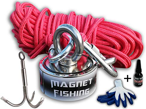 ROIS-SHOP Magnet Fishing Kit Double Sided Magnet 1200 LB Pull (Combined) - Includes Grappling Hook, Heavy Duty 65FT Rope, Gloves & Locking Carabiner - Reliable Neodymium Magnets Multiple Uses