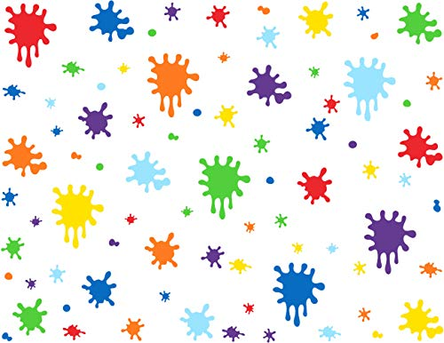 Mozamy Creative Paint Wall Decal (112 Count) Splatter Decals Color Splash Wall Decal Splotches Wall Decal Primary Color Peel and Stick Wall Decals Playroom Wall Decor
