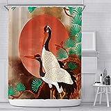 KYFY Vintage Khaki Duschvorhang-Set Tierdruck Khaki Krone Kranich Badezimmer Vorhang-Set Janpaese Floral Wasserdicht Badezimmer Vorhang Duschvorhang mit Haken 183 x 183 cm