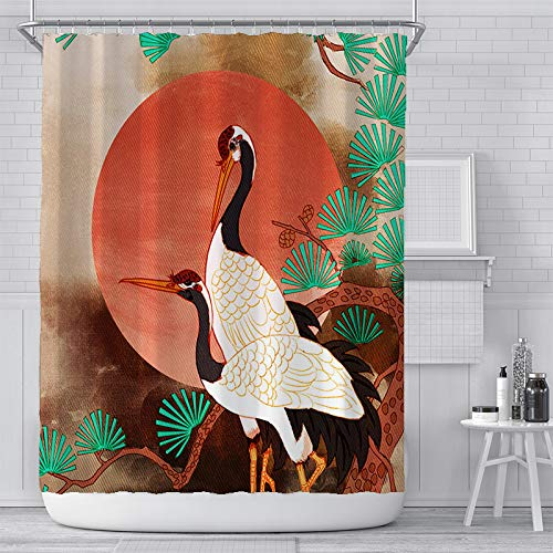 KYFY Vintage Floral Shower Curtain Set Khaki Japanese Crane Bathroom Curtain Set Red Floral Waterproof Bathroom Curtain Shower Curtain with Hooks 72x72 Inches