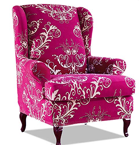 PETCUTE Sesselbezüge Ohrensessel Bezug Stretch Sesselbezug für Ohrenbackensessel Husse Passt Perfek für Ohrensessel mit Muster Blumen Rosenrot