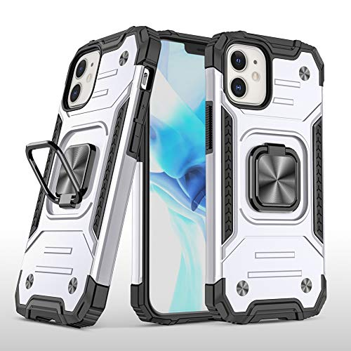 JTMall Compatible with Samsung Galaxy A57 Case, [ Military Grade ] 15ft. Drop Tested Protective Case | Kickstand | to Magnetic Metal Plate for The car Holder - Silver