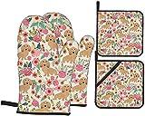MODORSAN Floral Doxie Dachshunds Juego de Manoplas para Horno y Soportes para ollas Guantes de Horno Resistentes al Calor Flexibles para Cocina Cocinar Hornear Asar a la Parrilla Microondas