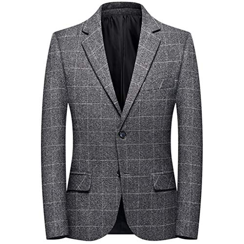 Azruma Herren Business Anzugjacke Doppelschnalle Knopf Karierte Sakko Herren Anzugjacke Kariert Sakko Herrensakko Karriert Vintage Tweed Design Jacken Mäntel Wedding Party Blazer