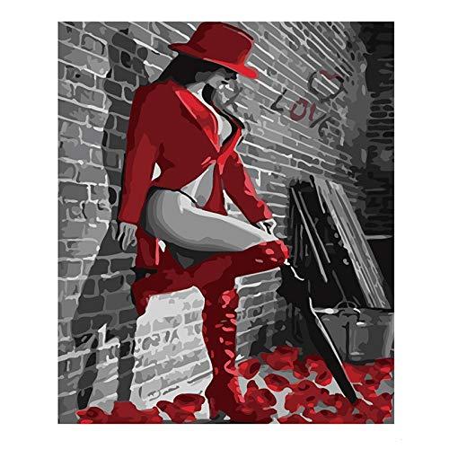 INART2 DIY Farbe nachZahlen für ErwachseneKinder Acrylmalerei Kits Kunst Frauen rote Lederstiefel GeburtstagHochzeit Home Decoration 40x50cm ohne Rahmen
