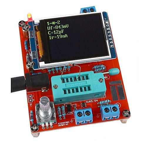 KKmoon Component tester -GM328, KKmoon esr meter Tester Diode Capacitor ESR Voltage Frequency Meter PWM Square Wave Signal Generator transistor tester , Precision ABS (red)