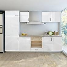 Köksskåp köksskåp inbyggt kylskåp 7 delar högglans vit 270 cm