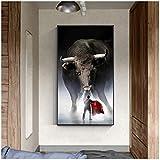 Arte moderno Torero español y pintura en lienzo de toro y decoración del dormitorio de la sala de estar