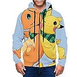 Pikachu Charmander - Sudadera con capucha para hombre con bolsillo con cremallera Negro Negro ( XXXL