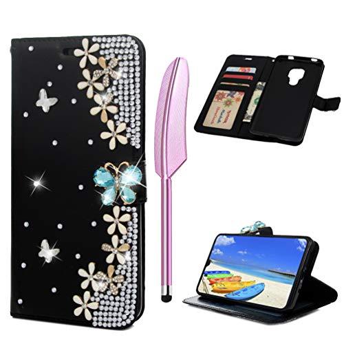 Coque pour Huawei Mate 20, Etui Bling PU+TPU Papillon Fleur Diamant Elégant Cuir Silicone Support Carte Portefeuille Fente Magnétique Housse - Noir