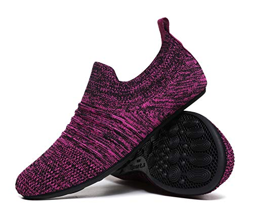 MOHEM Womens Mens Lightweight Summer House Slippers Shoes Soft Sock Shoes with Rubber Sole(MH-Wslipper2237Purple43)