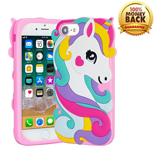 YINTRADE 3D Pink Unicorn Case for iPhone 6 6S 7 8 (4.7'), Soft Rubber Silicone Funny Unique Cute Cartoon Animal Shockproof Drop Protection Character Skin Bumper Case Cover for Ladies Kids Girls