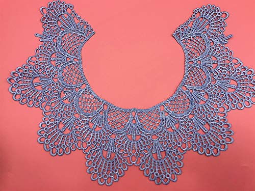 1pc Embroidery Round Ripple Neck African Lace Fabric Collar,DIY Handmade Lace Fabrics for Sewing Crafts (Light Blue)