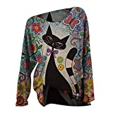 Camiseta de manga larga para mujer, diseño de gato y gato, suave, holgada, cuello redondo azul XXL
