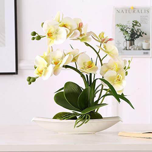 ENCOFT Kunstpflanze orchideen Künstliche Blumen aus Eva Wohndeko Kunstbulme mit Übertopf Garten Balkon Wohnzimmer Hochzeit (37cm, Grün)