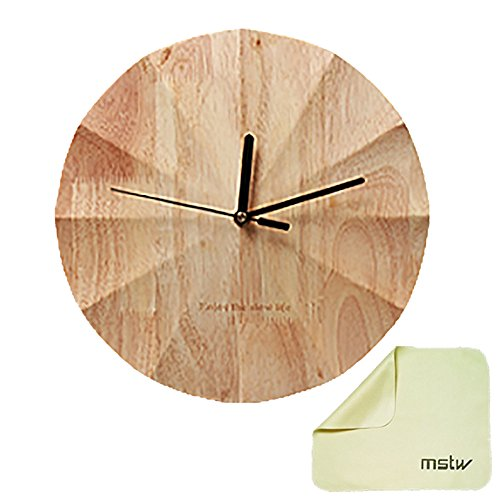 mstw 壁掛け時計 掛け時計 北欧インテリア デザイン デザイナー ウッド モダン 木製 木目 連続秒針 静音 しずか シンプル 時計 磨きクロス付き
