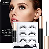 Dolanus Magnetic Eyelashes, Magnetic Eyelashes Natural Look, Magnetic Eyeliner and Lashes with Applicator(3 pairs)