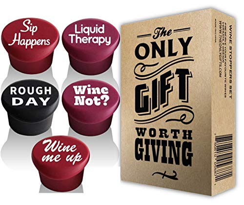 VINAKAS 5 Wine Stoppers + Gift Box - Perfect Wine Gift Accessory, Set of 5 Funny Silicone Wine Reusable Caps Stoppers for Wine and Beer Bottles - Vinaka Wine Stoppers