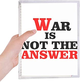 War Is Not the Answer Love Peace World Notebook Loose Leaf Diary Refillable Journal Stationery