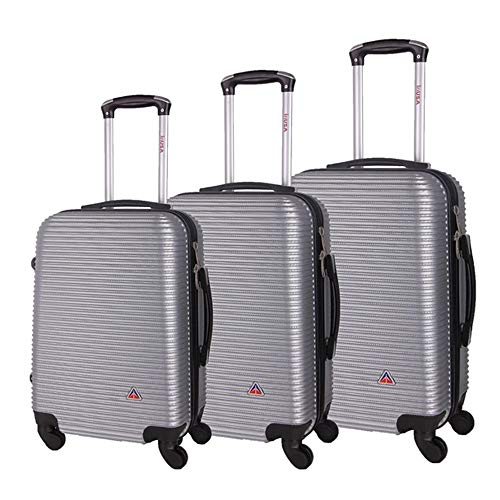 InUSA Royal Hardside Luggage Set with Spinner Wheel, Travel Suitcases with Ergonomic GEL Handle and Studs, Silver, 3 Piece Set (20/24/28)