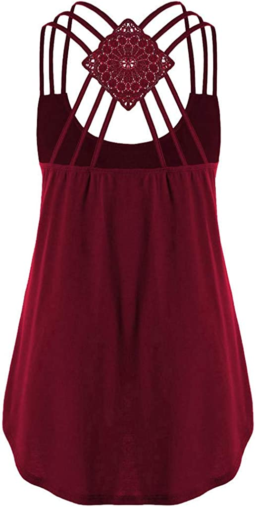 Overdose Oberteile Tops Damen Bandagen ärmellose Weste High Low Tank Top Bluse T Shirt Hinweise Strappy Casual Sommertop Blusentops Z-x-rot