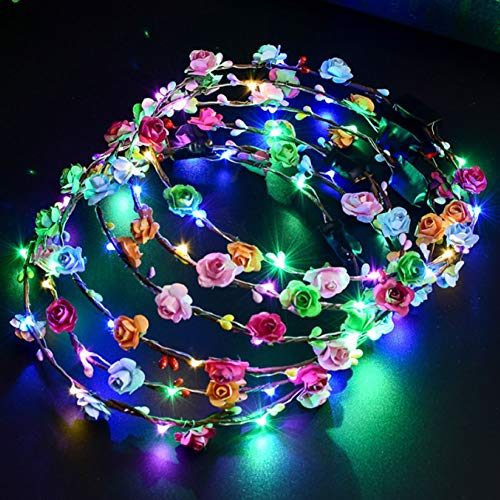Shenghuo LED Flower Headband, 12 Pack Flower Crowns Headdress Garland Hair Wreath for Women Girls Wedding Party Christmas Holiday Festival