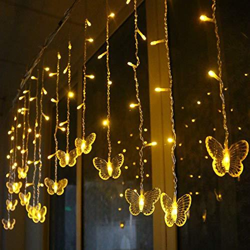LED Lichterkette Innen Strom Schmetterling Lichterkette 48 LEDs Lichtervorhang Weihnachten Lichterketten Vorhang Lichterkette IP44 Wasserfest Für Weihnachten Dekoration Partydeko Hochzeit (Gelb)