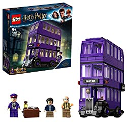 Build the three-level LEGO night Bus toy with hinged opening side panel, removable roof and a movable sliding bed and swinging chandelier Includes the cheeky shrunken head and Harry Potter's chest containing a wand, letter, chocolate bar and a potion...