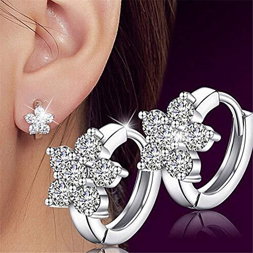 Pendientes de aleación de lujo 1 par de pendientes de plata con pequeños pendientes redondos de diamantes de imitación