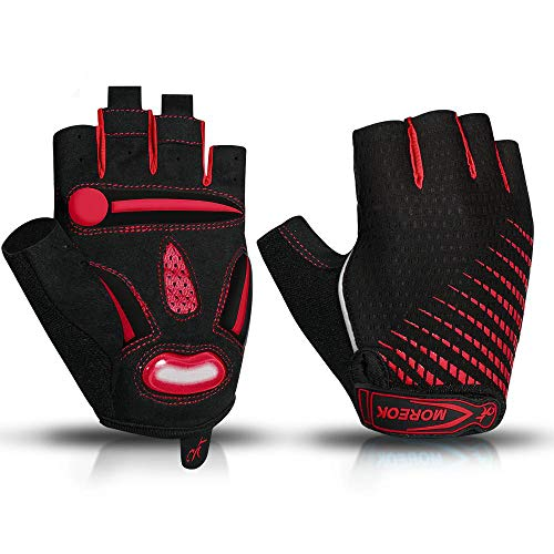 Cycling Gloves for Women,Dirt Bike Gloves Men Motorcycle Mountain MTB Dirt Riding Road Gel Padded Half Finger Shockproof Absorbing Breathable Durable Anti Slip Summer,Red,XL 10-11cm