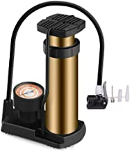 SUNJOYCO Bike Pump, Aluminum Alloy Portable Bike Floor Pump with Pressure Gauge, Foot Activated Bicycle Tire Pump Compatible with Presta and Schrader Valve, 120 PSI, Sliver (Gold)