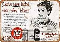1953 A&Pコーヒー、ブリキの看板ヴィンテージ面白いクリーチャーアイアンペインティングメタルプレートノベルティ