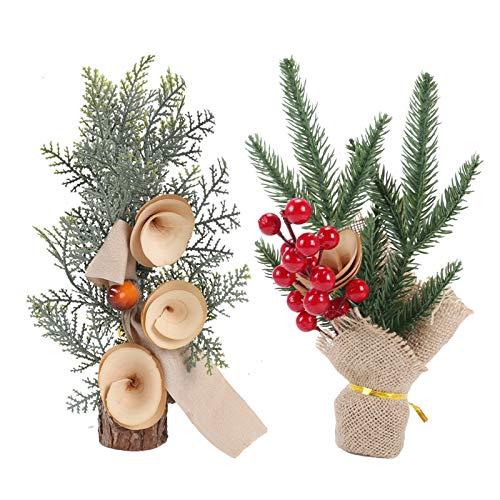HUAESIN 2pcs Flores Artificiales Navidad con Bayas Rojas de Acebo Artificiales Pino Navidad Pequeña Planta Artificial Decorativa para Fiesta Hogar de Año Nuevo Adornos Centro de Mesa Oficina Invierno
