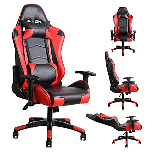 YUJIA Gaming Chair with Massage, Computer Chair Gaming Chairs High Back Ergonomic Adjustable Office Chair with Headrest And Lumbar Support (Red)