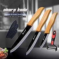 セラミック包丁 酸化物ナイフセット ナイフを調理セラミックナイフ多機能ピーラーブラックジルコニアセラミック包丁竹ハンドル (Color : Ceramic Knife Set)
