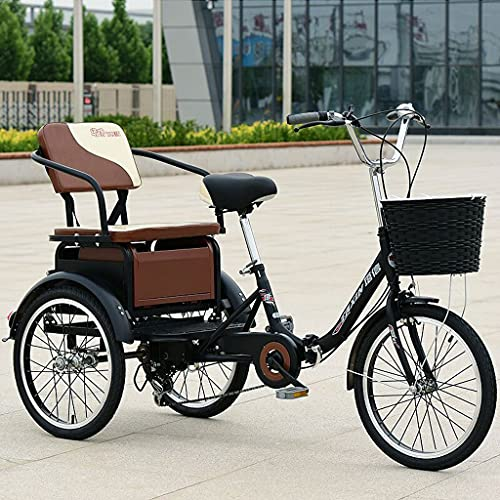 SN Plegable Triciclos para Adultos 6 Velocidades 20 Pulgadas Bicicleta 3 Tres Ruedas con Asiento De Respaldo De Carga Cesta Compra Picnic De Ejercicio (Color : Black)