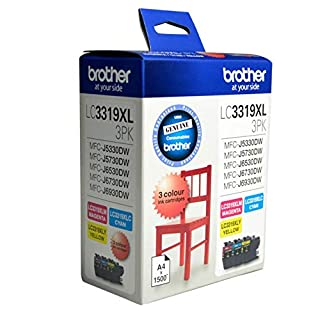 Brother Genuine LC3319XL High-Yield Colour Ink Cartridge Value Pack, Three Pack, Includes 1 Cartridge Each of Cyan, Magenta & Yellow, Page Yield Up to 1500 Pages (LC3319XL-3PK) (B077FBDL16)   Amazon price tracker / tracking, Amazon price history charts, Amazon price watches, Amazon price drop alerts