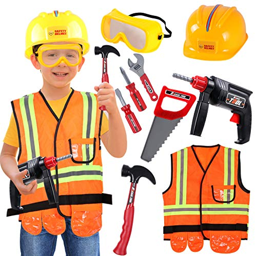 Construction Worker Costume Kids Role Play Dress up Set for 3 4 5 6 Years Toddlers Girls Boys Toys