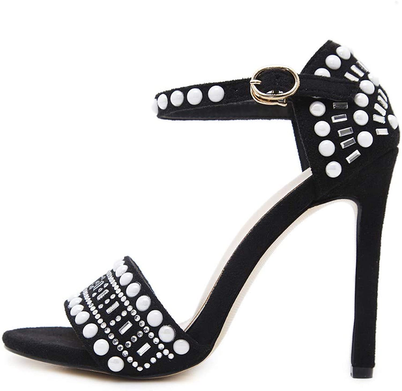JQfashion Women's High-Heeled Nail Pearl Roman Sandals Sexy Tip Fine Heel