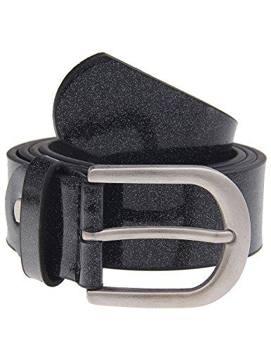 Leslii Gürtel Glitzer Schimmer Schwarz | Damen-Gürtel Mode-Accessoire | Breite 3,2cm Größe 90