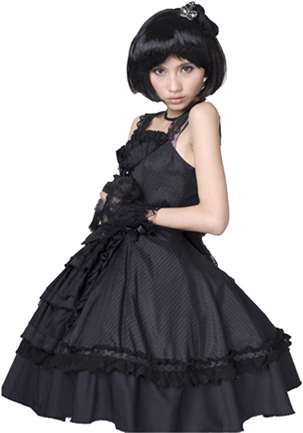 Punk Gothic Women Lolita Dress A Line Mini Skirt Sleeveless Renaissance Dress