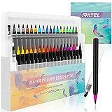 RATEL Set de stylos pinceaux Comprendre 36 Stylos pinceaux aquarelle avec embout en nylon flexible, 2 stylo brosse à eau pour livres à colorier, calligraphie, dessin et écriture