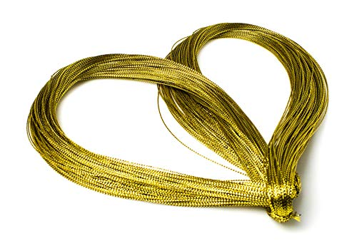 Bastex Metallic Gold String 656 Feet (218 Yards). Gold Cord for Jewelry, Thread for DIY Arts and Crafts, Twine for Gift Wrapping, Gifts, Hair Braiding String, Wedding Decorations and More.