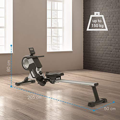 Capital Sports Stream M1 Magnetrudermaschine Rudergerät Rowing Machine, hocheffizientes Training, 8-stufiger Magnetwiderstand, 105 cm Lange Aluminium-Gleitbahn, schwarz - 6