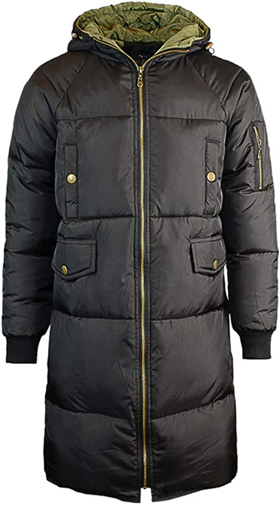 Men Autumn Casual Daily Tops Men's Winter Warm Hooded Zipped Thick Solid Fleece Coat Cotton-Padded Jacket