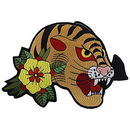 EMDOMO borduurwerk tijger hoofd bloem patches rugzak jas terug versierd Applique ijzer op patch badge naaien ambachten 1 stuk
