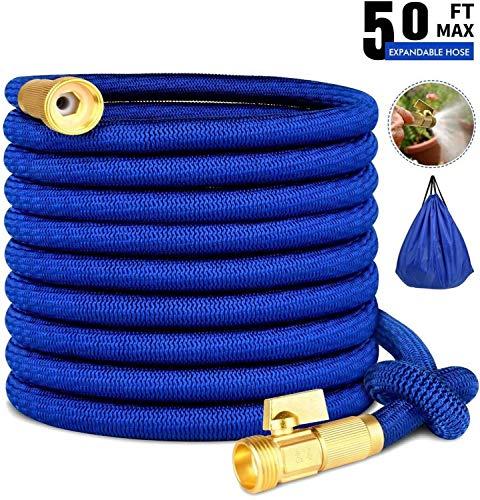 Tuyau d'arrosage, Tuyau de 50 pieds, No-Kink, laiton Vanne d'arrêt -Poche Flex Tuyau extensible tuyau d'arrosage 50FT - Jardin Flexible Extensible eau (Couleur : Blue)