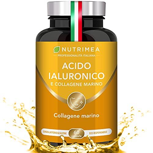 ACIDO IALURONICO e COLLAGENE MARINO | Integratore Alimentare Naturale | 60 Capsule | Anti rughe e Anti - Age | Pelle | Viso Ringiovanito | Articolazioni | Con...